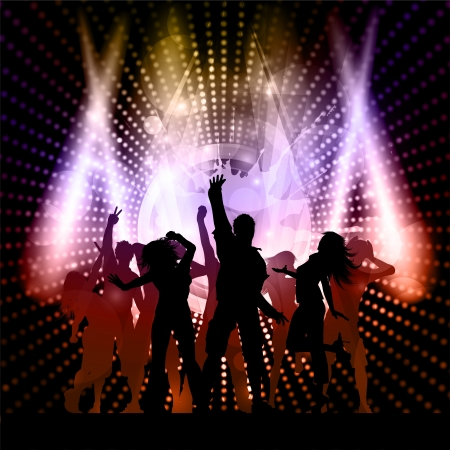 discos: Silhouette of an excited party crowd on a music speaker background