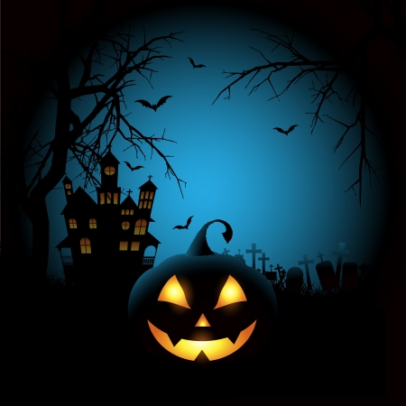 haunted house: Spooky Halloween background with a pumpkin and haunted house