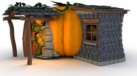 3D Render of Halloween Pumpkin Cottage photo