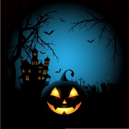 Spooky Halloween background with a pumpkin and haunted house Vector