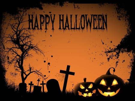 horror background: Halloween background with spooky pumpkins and graveyard Illustration