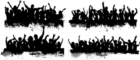 people party: Collection of four different grunge crowd scenes Stock Photo