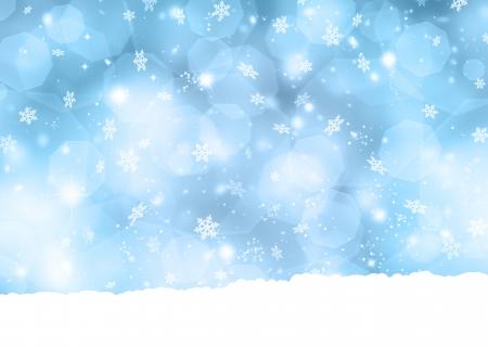 neige noel: Flocon de neige fond avec des lumi�res bokeh et les �toiles