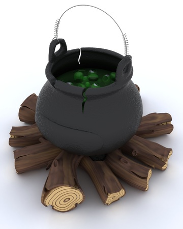 3D render of cauldron of eyeballs on log fire photo