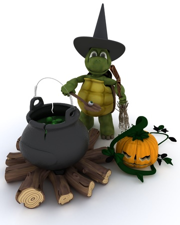 3d witch: 3D render of tortoise witch with cauldron of eyeballs on log fire Stock Photo