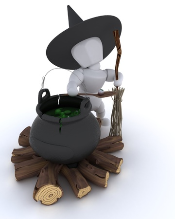 3D render of a witch with cauldron of eyeballs on log fire photo
