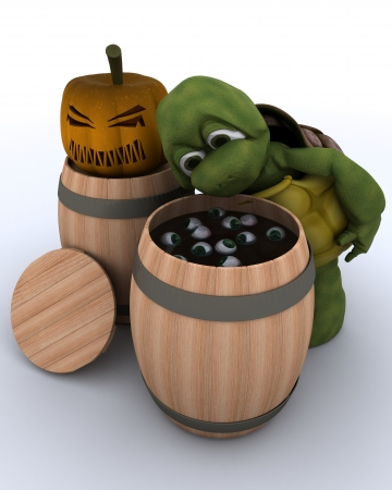 3D render of a tortoise bobbing for eyeballs in a barrel Stock Photo - 15933716