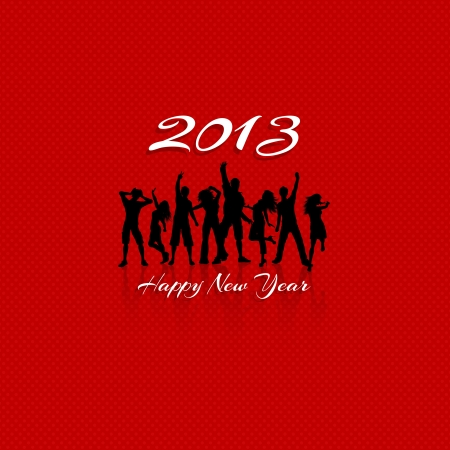 New Year party background with silhouettes of people dancing photo