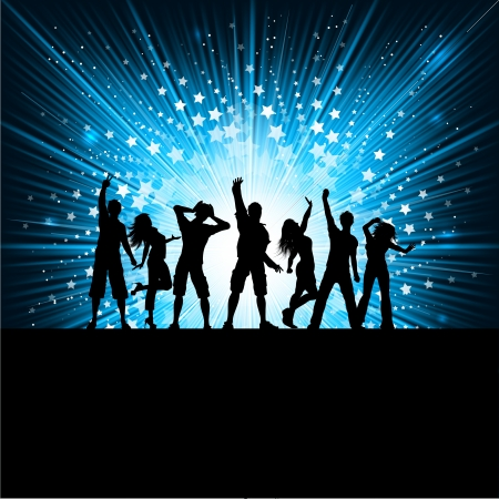 party background: Silhouettes of people dancing on a starburst background