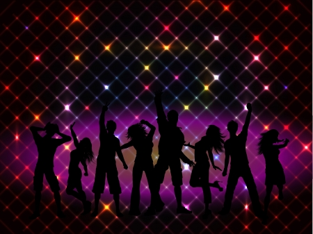 disco lights: Silhouettes of people dancing on a disco lights background