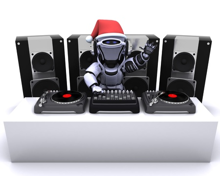3D render of a Christmas Robot  DJ mixing records on turntables photo