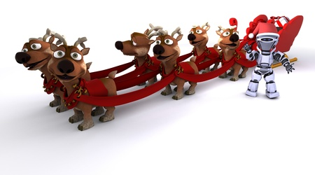 3D render of a Robot withsleigh and reindeer photo