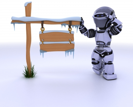 chrome man: 3d render of a robot with a frozen blank road sign Stock Photo