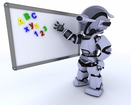 3D render of a Robot with White class room drywipe marker board Stock Photo - 16213438