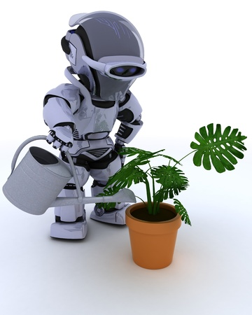 3D render of a Robot with  watering can feeding a plant Stock Photo - 16213444
