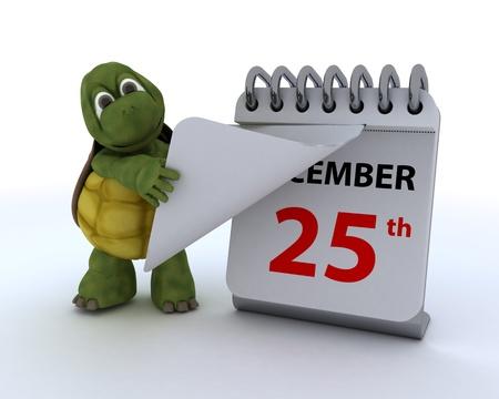 december 25th: 3D render of a tortoise with a calendar