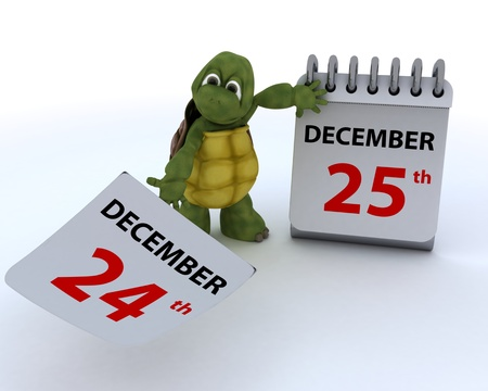 schedule appointment: 3D render of a tortoise with a calendar
