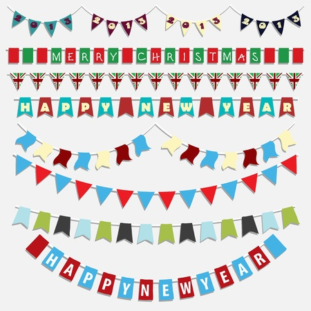 Collection of various designs of Christmas and New Year bunting photo