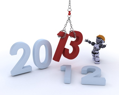 3D render of a Robot  bringing in the new year Stock Photo - 16552190