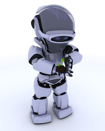 3D render of a Robot nurturing a  seedling plant  Stock Photo - 16552212