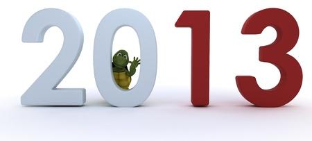 3D rendent d'une tortue qui porte la nouvelle année Banque d'images - 16552185