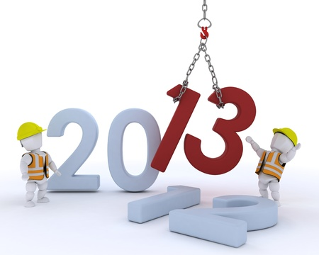 businness: 3D render of a man  bringing in the new year Stock Photo