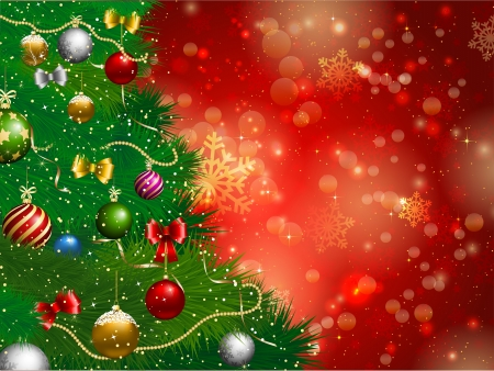 christmas christmas tree: Decorative Christmas tree background on a snowflake background Stock Photo