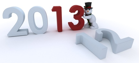 bringing: 3D Remder of a Snowman in hat and scarf  bringing in the new year