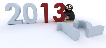 3D Render of a Glossy Penguin Character bringing in the new year photo
