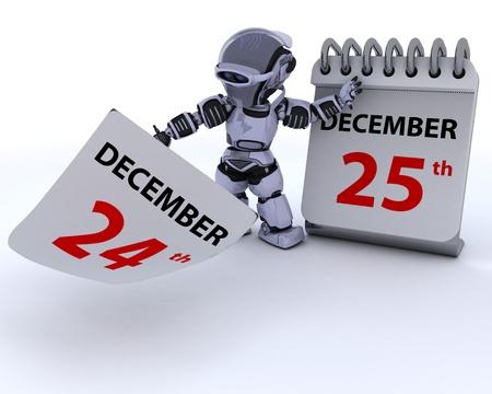 almanak: 3D render van een robot met een kalender Stockfoto