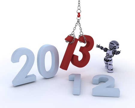3D render of a Robot bringing in the new year Stock Photo