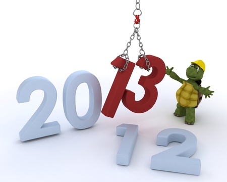 3D render of a tortoise bringing in the new year photo