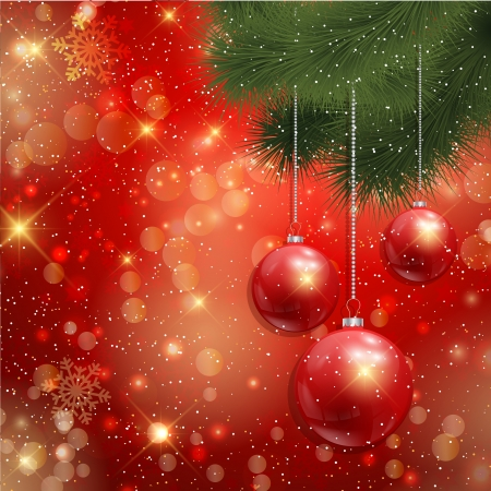 Decorative Christmas background with hanging baubles Stock Vector - 16700423