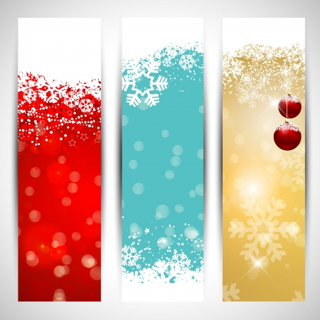 christmas banner: Collection of three decorative Christmas banners