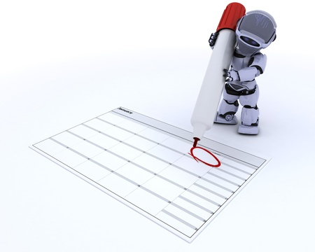 3D render of a robot with a calender Stock Photo - 17204236