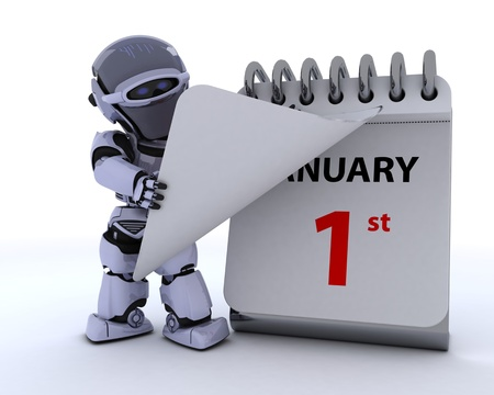 3D render of a robot with a calender Stock Photo - 17204245