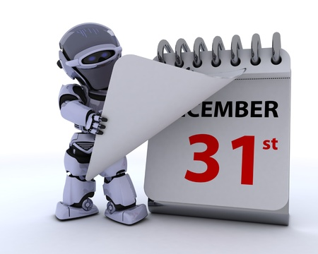 3D render of a robot with a calender Stock Photo - 17204243