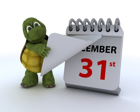 3D render of a tortoise with a calendar Stock Photo - 17204238