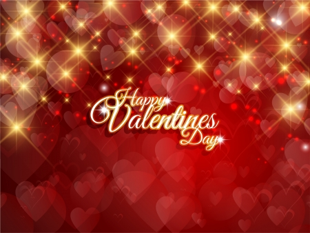 Decorative Valentines Day background with gold stars and hearts