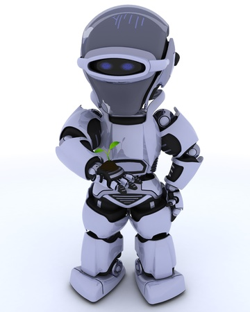 3D render of a Robot nurturing a  seedling plant Stock Photo - 17621827
