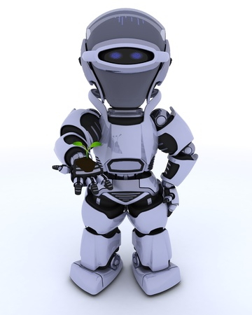 3D render of a Robot nurturing a  seedling plant  photo