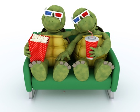 3D render of a tortoises watching a 3D Movie photo