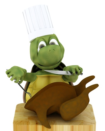 chiken: 3D render of a tortoise chef carving a chicken