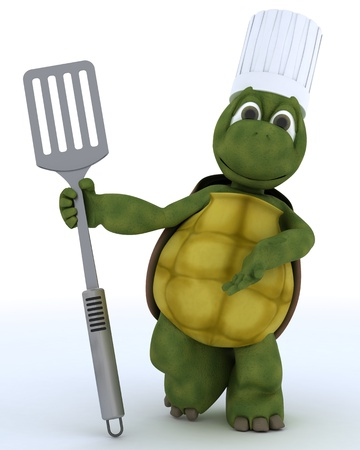 3D render of a tortoise chef with fish slice photo