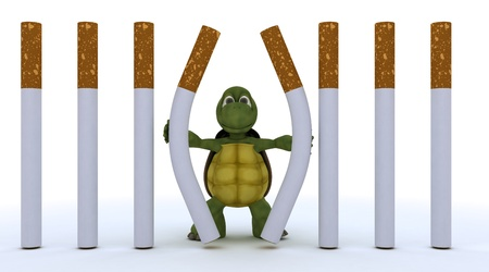 3D render of a tortoise escaping cigarette prison Stock Photo - 17621826