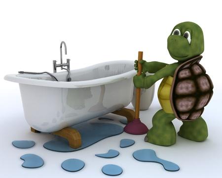 3D render of a tortoise plumbing contractor