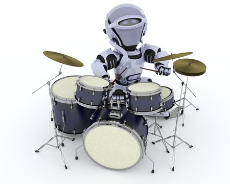 3D render of a Robot playing the drums