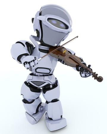 3D render of a Robot playing the violin Standard-Bild