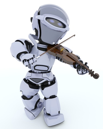 3D render of a Robot playing the violin Stock Photo