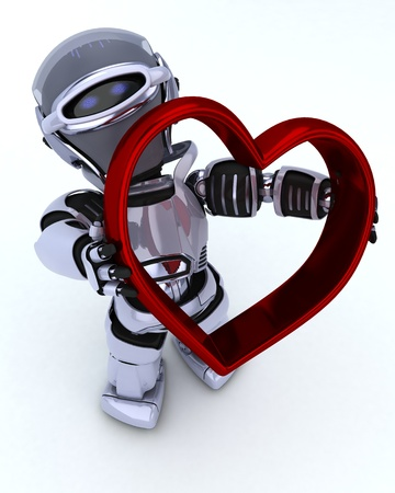 3D render of a Robot with heart charm Stock Photo - 17664771